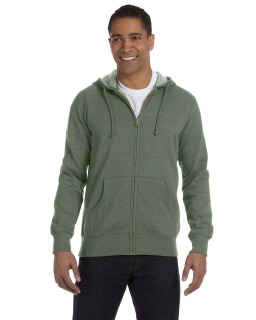 Mens 7 Oz. Organic/Recycled Heathered Full-Zip Hood-