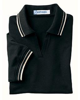 Ladies Pique Polo With Textured Stripe Trim-
