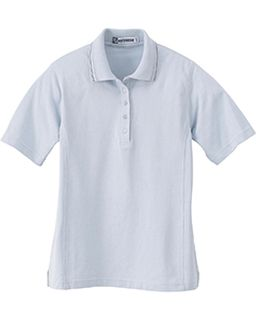 Ladies Pique Polo With Textured Striped Trim-Extreme