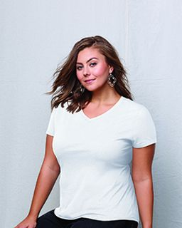 Ladies Jms 4.5 Oz., 100% Ringspun Cotton V-Neck T-Shirt-
