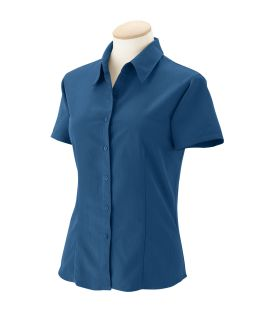Ladies Barbados Textured Camp shirt-Harriton