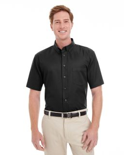 Mens Foundation 100% Cotton Short-Sleeve Twill Shirt With Teflon�-Harriton