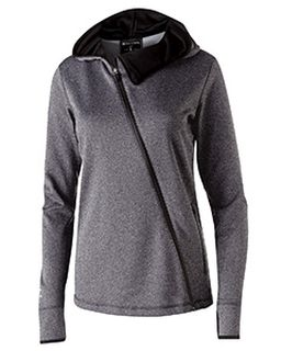 Ladies Polyester Fleece Full Zip Hooded Artillery Angled Jacket-