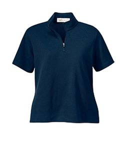 Ladies Cross Ridge Jacquard Short Sleeve Half-Zip Mock-