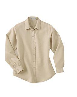 Ladies Dobby Polynosic Long Sleeve Shirt-Ash City - Il Migliore