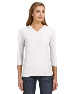 Ladies 3/4-Sleeve Hooded Slub T-Shirt-