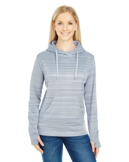 Ladies Odyssey Striped Poly Fleece Lapover Hood-