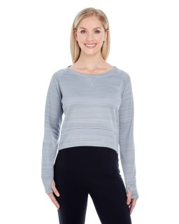 Ladies Odyssey Striped Poly Fleece Hi-Lo Crew-