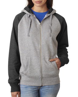 Ladies Glitter French Terry Contrast Full-Zip Hood-