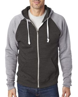 Adult Triblend Colorblock Full-Zip Fleece Hood-J America