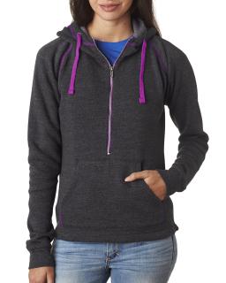 Ladies Triblend Half-Zip Fleece Hood-