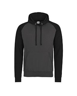 Adult 80/20 Midweight Contrast Baseball Hooded Sweatshirt-Just Hoods By AWDis