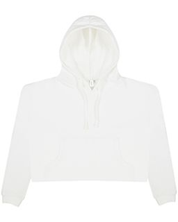 Ladies Girlie Cropped Hooded Fleece With Pocket-