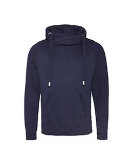 Mens 80/20 Heavyweight Cross Over Neck Hooded Sweatshirt-Just Hoods By AWDis