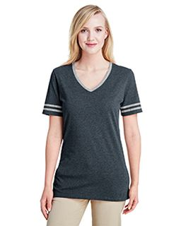 Ladies 4.5 Oz. Tri-Blend Varsity V-Neck T-Shirt-Jerzees