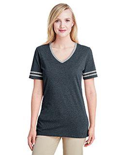 Ladies 4.5 Oz. Tri-Blend Varsity V-Neck T-Shirt-