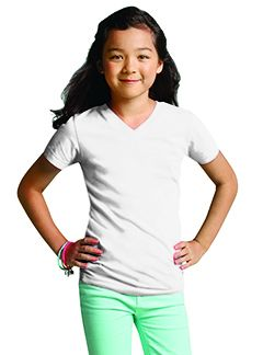 Girls V-Neck Fine Jersey T-Shirt-LAT