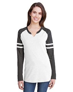 Ladies Gameday Mash-Up Long-Sleeve Fine Jersey T-Shirt-LAT