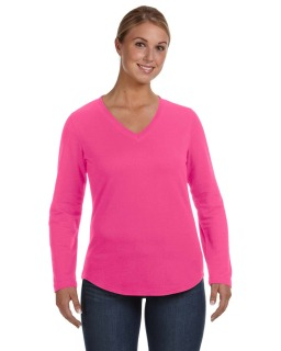 Ladies V-Neck French Terry Pullover-LAT