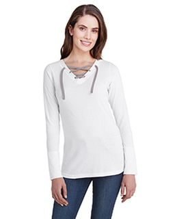 Ladies Long Sleeve Fine Jersey Lace-Up T-Shirt-LAT