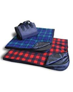 Fleece/Nylon Plaid Picnic Blanket-