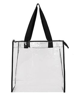 Oad Clear Tote w/ Gusseted And Zippered Top-