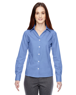 Ladies Precise Wrinkle-Free Two-Ply 80s Cotton Dobby Taped Shirt