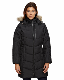Ladies Boreal Down Jacket With Faux Fur Trim