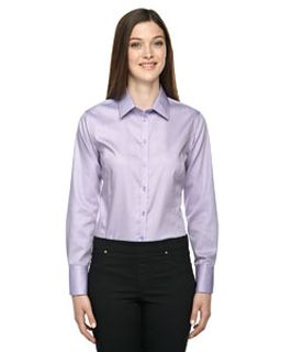 Ladies Boulevard Wrinkle-Free Two-Ply 80s Cotton Dobby Taped Shirt With Oxford Twill