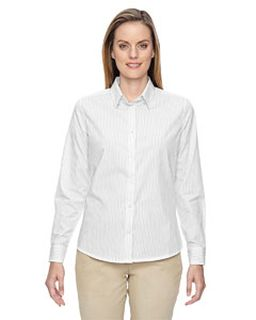 Ladies Align Wrinkle-Resistant Cotton Blend Dobby Vertical Striped Shirt-