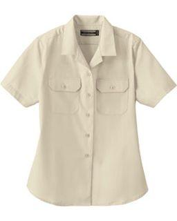 Ladies Soil Release Short Sleeve Broadcloth Shirt-