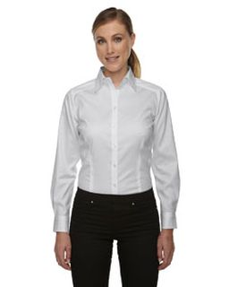 Ladies Wrinkle-Free Two-Ply 80s Cotton Taped Stripe Jacquard Shirt-