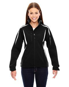 Ladies Enzo Colorblocked Three-Layer Fleece Bonded Soft Shell Jacket-