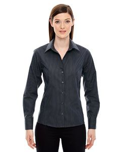 Ladies Boardwalk Wrinkle-Free Two-Ply 80s Cotton Striped Tape Shirt-North End