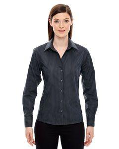 Ladies Boardwalk Wrinkle-Free Two-Ply 80s Cotton Striped Tape Shirt-