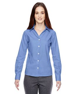 Ladies Precise Wrinkle-Free Two-Ply 80s Cotton Dobby Taped Shirt-North End