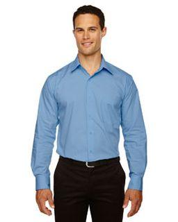 Mens Luster Wrinkle-Resistant Cotton Blend Poplin Taped Shirt-