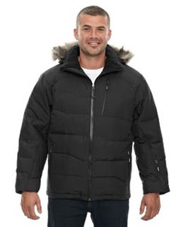 Mens Boreal down Jacket With Faux Fur Trim-