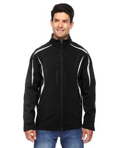 Mens Enzo Colorblocked Three-Layer Fleece Bonded Soft Shell Jacket-