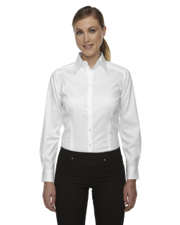 Ladies Wrinkle-Free Two-Ply 80s Cotton Taped Stripe Jacquard Shirt