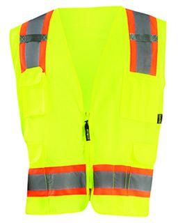 Mens High Visibility Two-Tones Surveyor Mesh Vest-