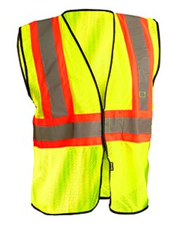 Mens High Visibility Value Two-Tone Safety Mesh Vest-