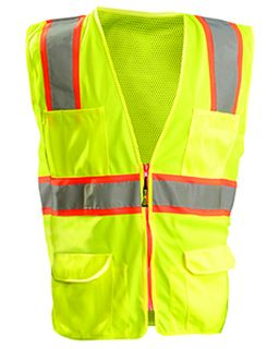 Mens High Visibility Classic Two-Tone Surveyor Safety Mesh Vest-