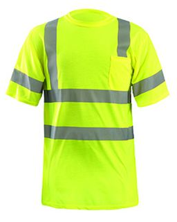 Mens Lux-Ssetp2b-Orange And Yellow Sizes Reflective Pocket T-Shirt-