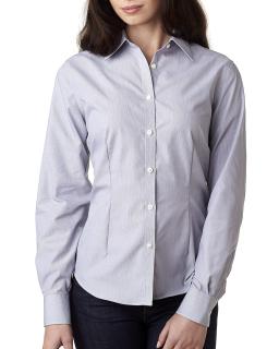 Ladies Long-Sleeve Non-Iron Feather Stripe