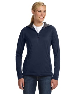 Ladies Tech Fleece Quarter-Zip Pullover Hood-Russell Athletic
