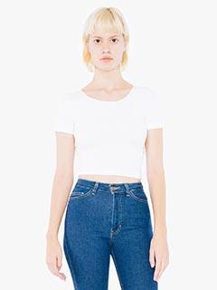 Ladies Cotton Spandex Short-Sleeve Crop Top