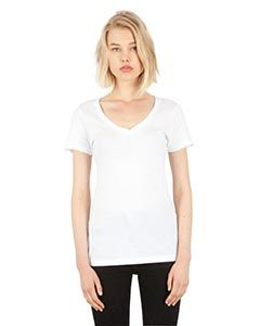 Ladies Combed Ring-Spun Cotton Deep-V T-Shirt-
