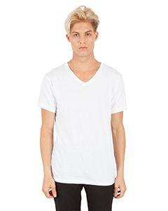 Mens Combed Ring-Spun Cotton V-Neck T-Shirt-