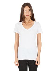 Ladies Cvc Deep V-Neck T-Shirt-